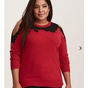 TORRID red  shoulder off sweater lace black detail